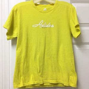 Awesome Adidas faux sequin neon yellow tee